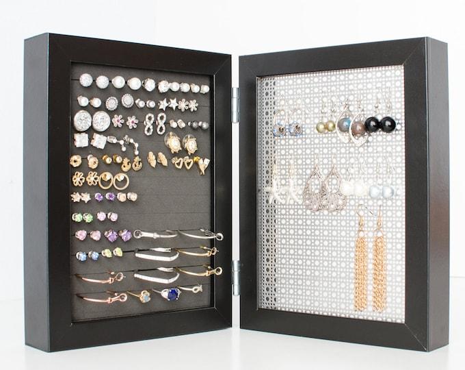Framed Earring Holder - Black 5x7 Frame - Stud & Hook Earring Organizer