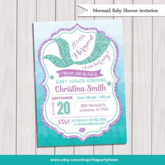 mermaid baby shower invitation little mermaid baby shower under the