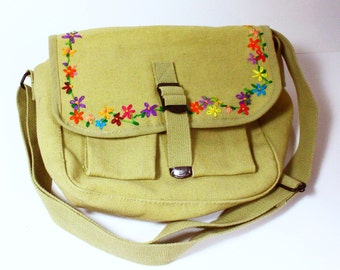 Flower Embroidered UpCycled Military Messenger Bag