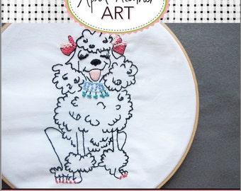 PDF PRETTY POODLE Dog Embrodiery pattern