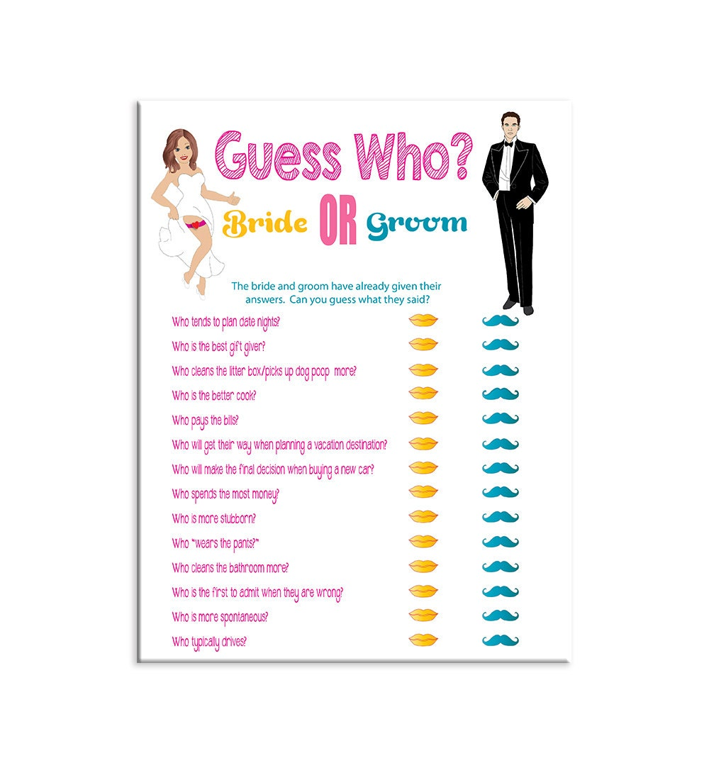 Bridal shower game guess who wedding shower game couples for Bridal shower games that aren t cheesy