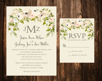 Watercolor Floral Wedding Invitations; Green, Ivory; Printable OR set of 25