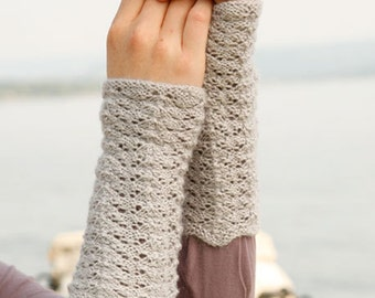 gloves, fingerless, mittens, gauntlets, handknitted, wristwarmer, Baby Alpaca Silk - designed by drops