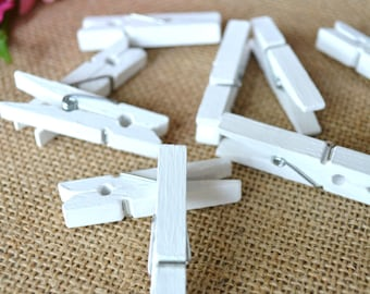 mini clothespins, white hand-painted mini clothespins, small white clothespins, white wedding clothespins - 10 clothespins