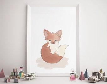 SALE! Red Fox Nursery Print, Fox Print, Nursery Art, Printable Fox, Nursery Fox Print, Nursery Fox Art, Kids Fox Art, Baby Gift, Printable