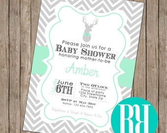 Mint Deer Baby Shower Invitation (digital & card stock)