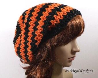 Crochet Slouchy Hat, Women Knit, Black Orange Winter Crochet Halloween Hat Beanie by Vikni Designs