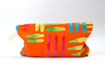 Solar Orange, Bright and Bold, Cotton, Digitally Printed,  Medium Zipper Pouch, Zip Bag, Make up bag, Purse