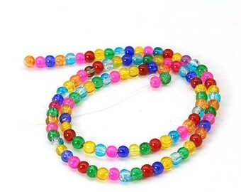 Crackle Glass Beads, Mixed Colors - 4mm Round - 16 inch Strand #051