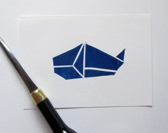 Hand Printed Blue Whale Origami Linocut Print - A6