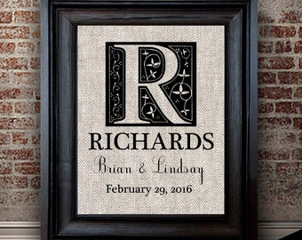 2nd Anniversary Cotton Gift | Personalized Monogram Print | Anniversaries, Weddings, Engagements |  Choose Your Names & Date