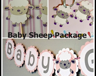 Baby Sheep Decorations Package/ Sheep Banner/ Baby Banner/Shower Banner/ Sheep Toppers/Sheep Tags