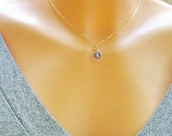 Birthstone necklace, Personalized necklace, Circle necklace, September birthstone, Gold filled necklace, Sapphire necklace, Dainty necklace,