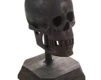 19th century Folk Art Hand Carved large Wooded Skull