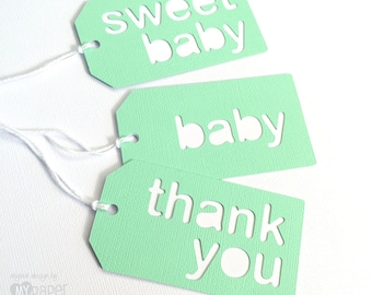 Mint Green Baby Shower gift tags. Silhouette Text - baby boy, baby girl, baby, sweet baby, thank you. Baby shower favor tags, gifts.