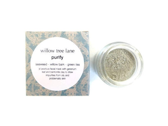 Purify Face Mask with Seaweed, White Willow, Green Tea and Geranium Leaf. BHA Mask, Cleansing Grains, Clay Mask