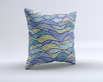 The Green and Blue Stain Glass  ink-Fuzed Decorative Throw Pillow