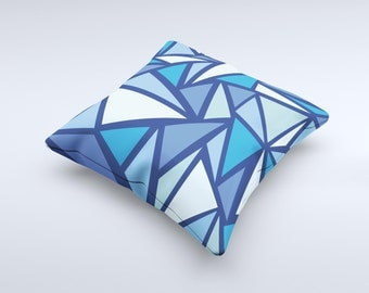 The Large Vector Shards of Blue ink-Fuzed Decorative Throw Pillow
