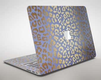 Gold Flaked Animal Blue - Apple MacBook Air or Pro Skin Decal Kit (All Versions Available)