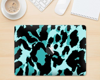 The Vector Hot Turquoise Cheetah Print Skin Kit for the Apple MacBook Air - Pro or Pro with Retina Display (Choose Version)
