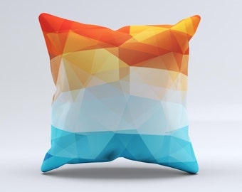 The Vector Abstract Shaped Blue-Orange Overlay ink-Fuzed Decorative Throw Pillow