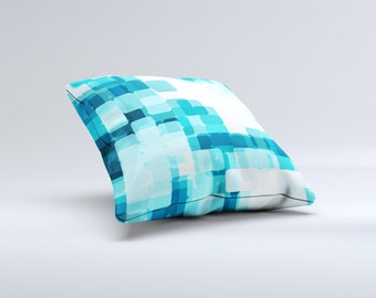 The Vibrant Blue HD Blocks ink-Fuzed Decorative Throw Pillow