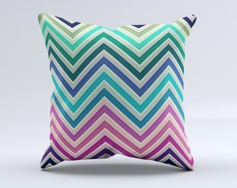 The Vibrant Colored Chevron Layered V4 ink-Fuzed Decorative Throw Pillow