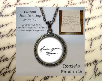 Custom Handwriting Necklace - Handwriting Jewelry - Handwriting Keepsake - Your Actual Handwriting - Custom Handwriting Pendant Necklace