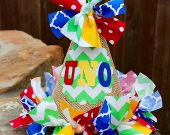 "Fiesta Themed First Birthday Burlap & Bright Colored Fabric Party Hat - ""UNO"" Fiesta Themed Party Hat - Fiesta First Birthday Party Hat"
