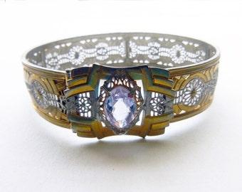 Art Deco filigree two tone geometric buckle bangle with purple paste stone JJ White