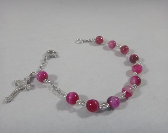 Bracelet with pink agat round and silver 925