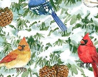 Winter Birds ~ Birds~Cotton Fabric, Quilt,~Northcott~Fast Shipping,N352