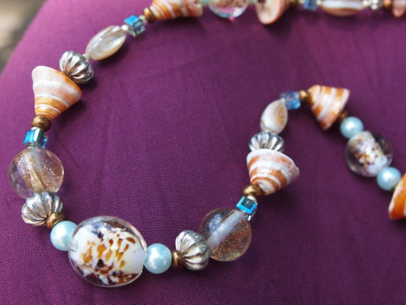 Orange Seashells with Pale Blue Pearls Necklace Set, Beach Browns and blues with silver and brass,#100