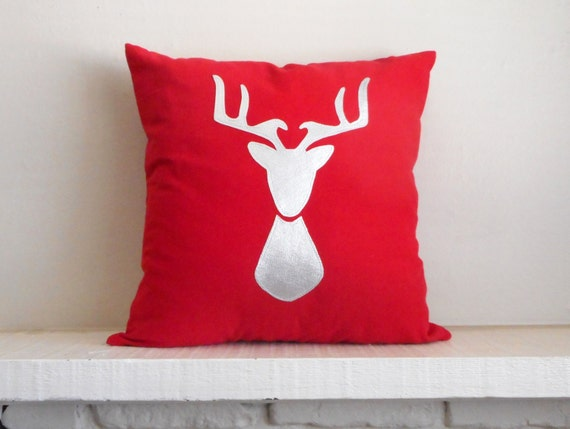 Deer Pillow - Cover - Red and Silver - Custom Colors - Deer Head Silhouette - Stag Antlers / Throw Cushion / Woodland Decor - Nature Lover