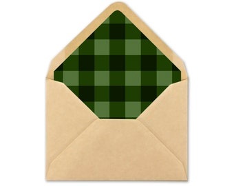 Green Envelope Liner printable - Wedding Envelope Liner template - buffalo plaid - A7 square - A7 triangle - A2 square - A2 triangle