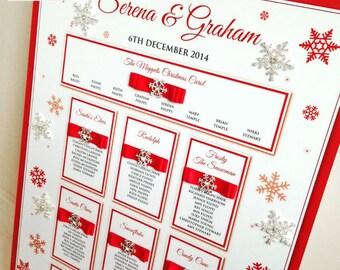 Luxury Christmas Table Plan Wedding, Snowflake, Festive Seating Plan, Seating Chart