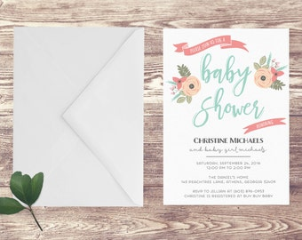 Printed Baby Shower Invitation, Floral Baby Shower Invite, Invitation for Baby Shower, Baby Sprinkle Invitation, Baby Girl Shower Invitation