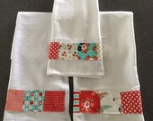 "Kitchen towels embellished with fashionable fabrics/ 100% Cotton flour sack/ hostess gift/ ""home sweet home"""