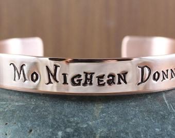Mo Nighean Donn (My brown-haired lass) - Outlander inspired - Scottish Gaelic - bangle cuff bracelet