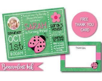Pink Ladybug Invitation  - Ladybug Theme Birthday Party - First Birthday Party Invite - Girls Birthday Ideas - Ladybug Theme
