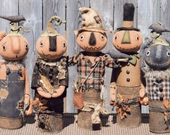 Primitive PATTERN Canned Pumpkin Men