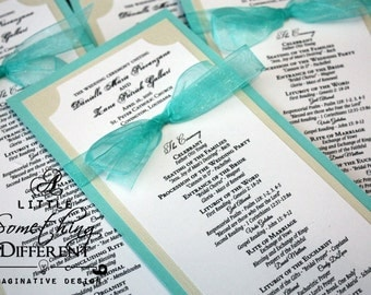 Teal and Cream Double Sided Wedding Programs / Teal and Pearl Wedding Programs / Teal Accented Double Sided Wedding Programs with Bows