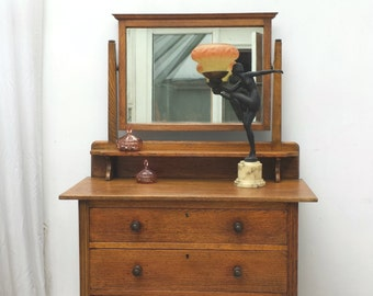 Vintage Oak Arts & Crafts Dressing Table with Mirror
