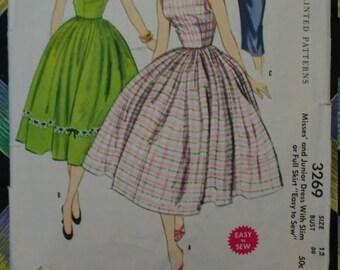 1950s McCalls Dress Pattern #3269 Bust 30 Full Skirt