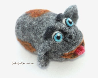 "Monkey Face Needle Felted 100% Wool ""Pet"" Monty WoolRoxx - Original OOAK 3D Sculpture - Gift Boxed"