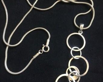 Vintage Sterling Silver Ring Link Necklace