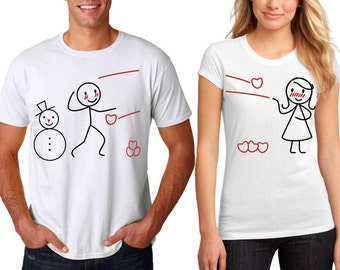 Snowball Hearts Love Couple Tees T-shirts