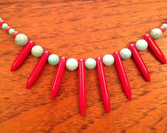 Stick Coral and Turquoise Necklace Set