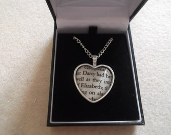 Mr Darcy & Lizzy Heart Cabochon Pendant - Boxed - Pride and Prejudice - Jane Austen