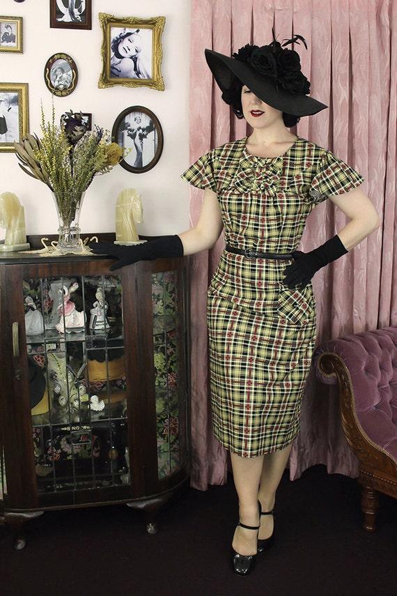 1930s Style Fashion Dresses Vintage Dress 1930s 30s cotton  / Mildred / Authentic vintage reproduction / Yellow Plaid 30s dress / XS S M L Xl $184.56 AT vintagedancer.com